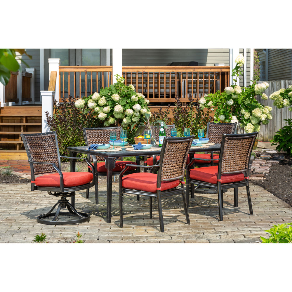 Hanover Mercer 7 Piece Patio Dining Set In Crimson Red With 4 Inside Mercer Foam Swivel Chairs (Photo 15 of 20)