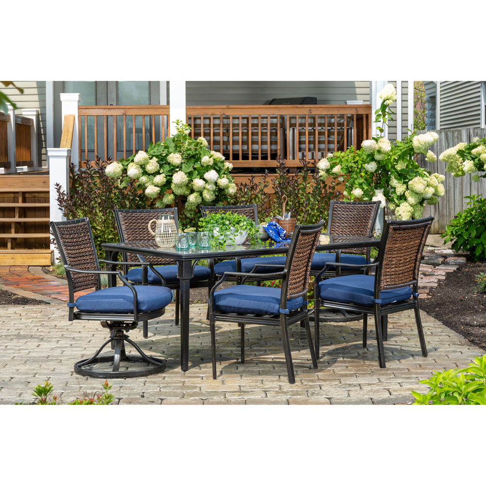 Hanover Mercer 7 Piece Patio Dining Set In Navy Blue With 4 Dining With Regard To Mercer Foam Swivel Chairs (View 12 of 20)