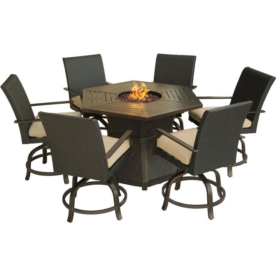 Hanover Outdoor Furniture Aspen Creek 7 Piece Brown Metal Frame With Aspen Swivel Chairs (Image 13 of 20)