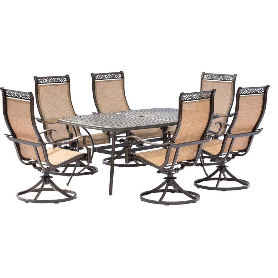 Hanover Outdoor Furniture Manor 7 Piece Bronze Metal Frame Patio Set For Manor Grey Swivel Chairs (Photo 14 of 20)