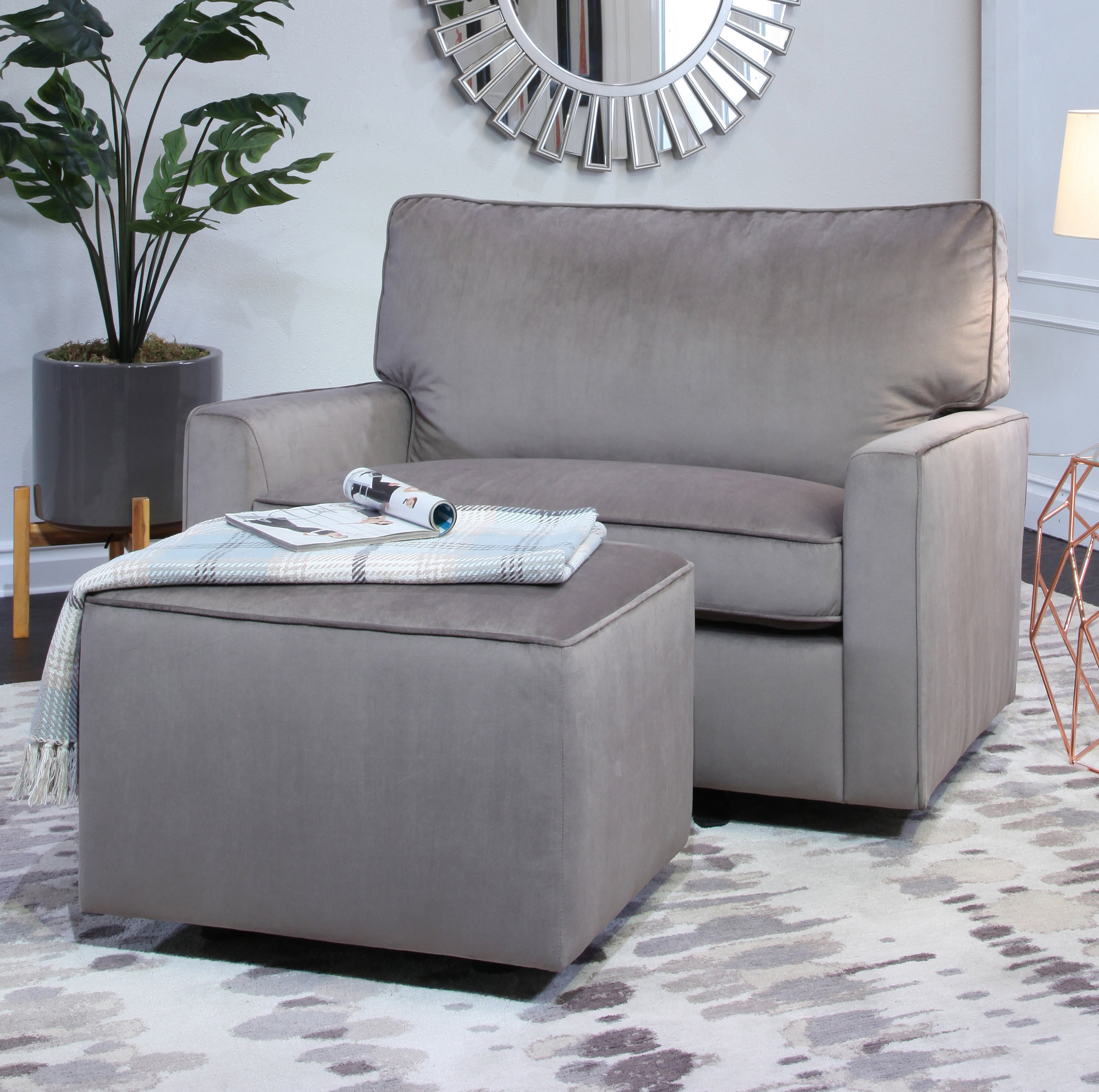 Harriet Bee Craner Oversized Glider Chair And Ottoman | Wayfair For Sheldon Oversized Sofa Chairs (Image 1 of 20)