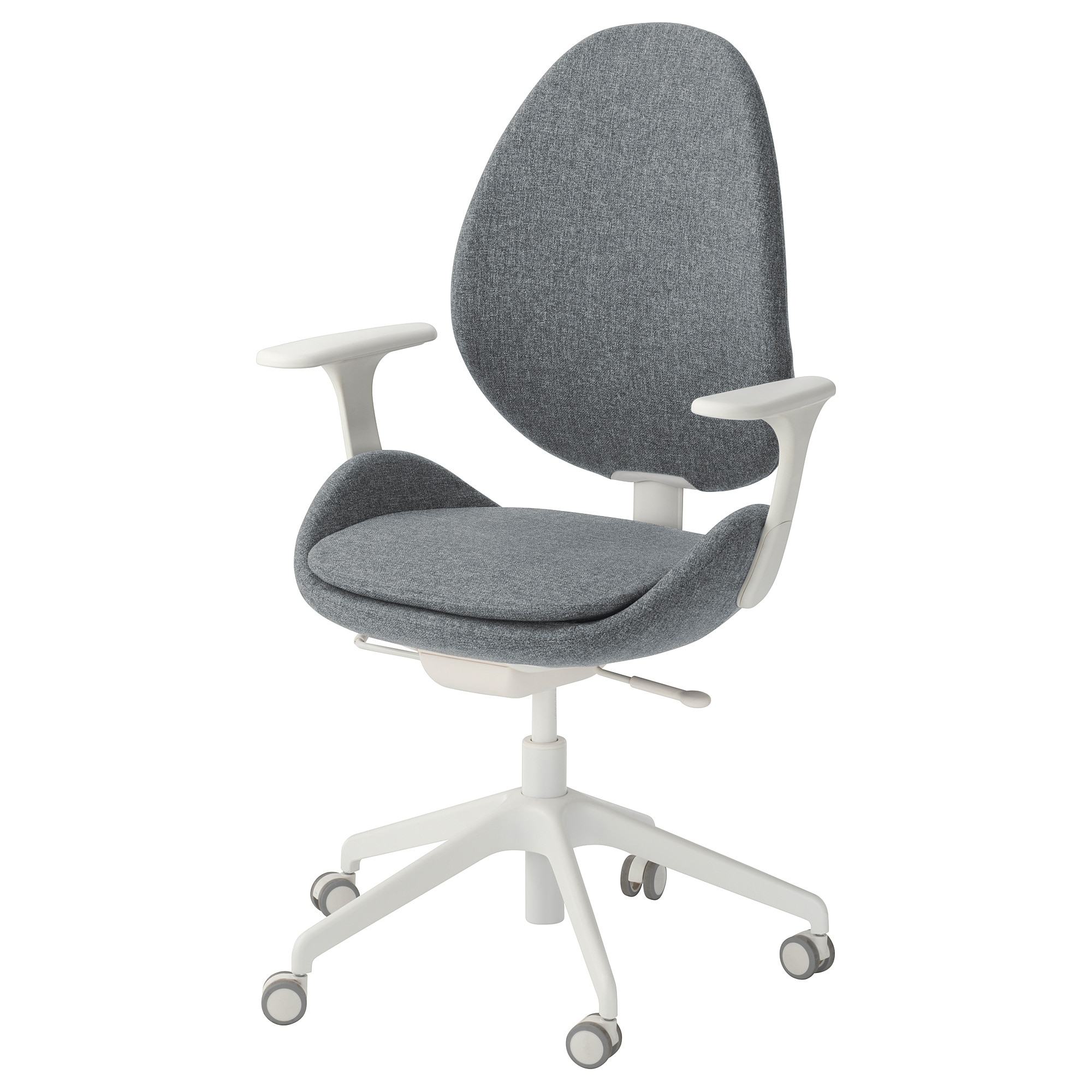 Hattefjäll Swivel Chair With Armrests Gunnared Medium Grey/white – Ikea Intended For Grey Swivel Chairs (View 18 of 20)