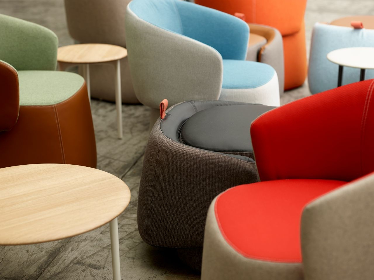 Haworth Openest Collection Chick Pouf With Back – Modern Planet Inside Chadwick Tomato Swivel Accent Chairs (View 18 of 20)