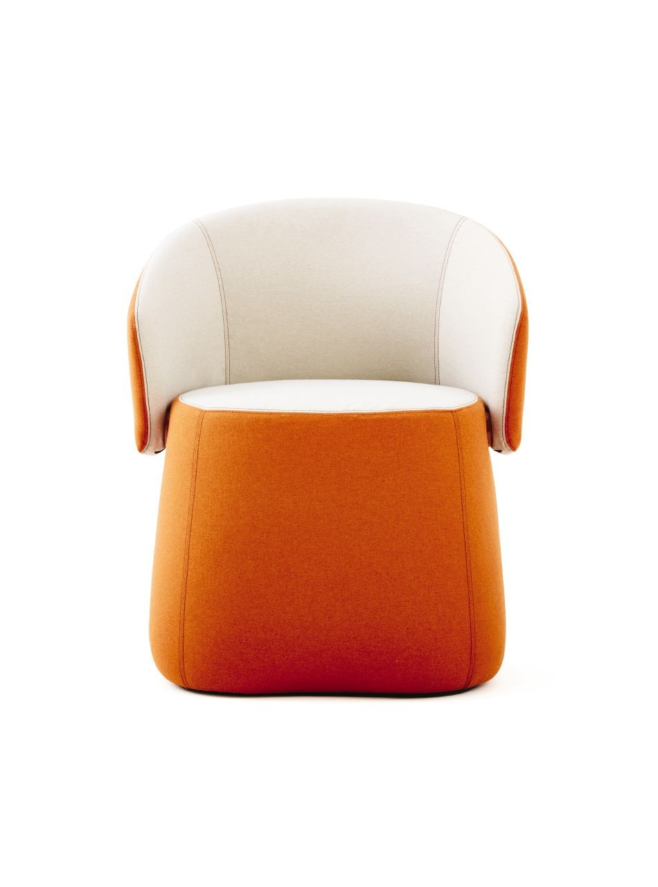 Haworth Openest Collection Chick Pouf With Back – Modern Planet Intended For Chadwick Tomato Swivel Accent Chairs (View 6 of 20)
