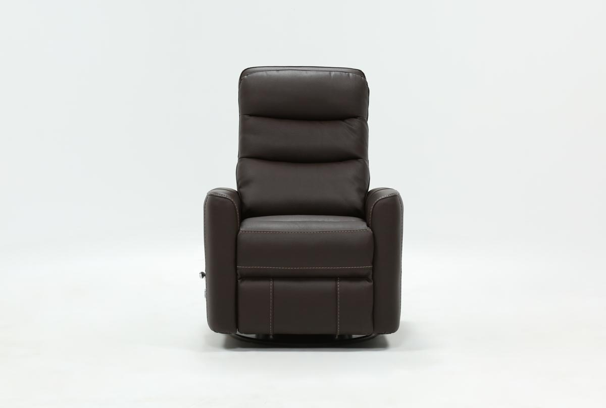 Hercules Chocolate Swivel Glider Recliner | Living Spaces With Hercules Oyster Swivel Glider Recliners (Image 9 of 20)