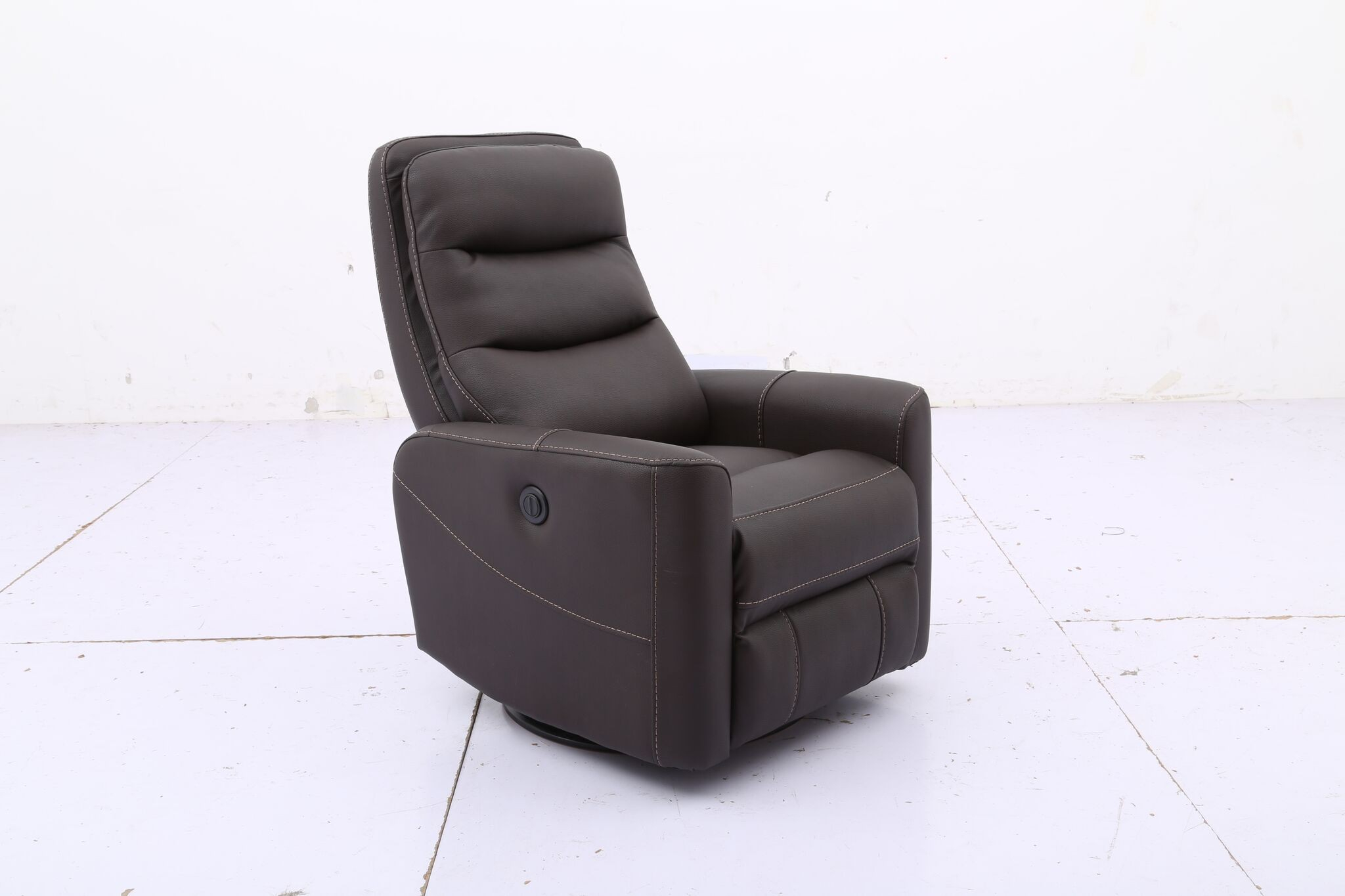 Hercules  Chocolate  Swivel Power Recliner Regarding Hercules Oyster Swivel Glider Recliners (Image 7 of 20)