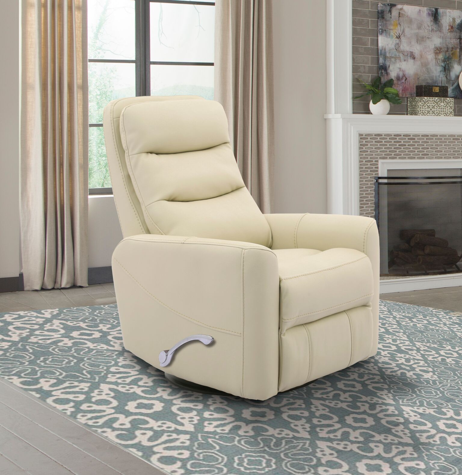 Hercules  Oyster  Swivel Glider Recliner With Articulating Headrest Regarding Hercules Grey Swivel Glider Recliners (Image 9 of 20)