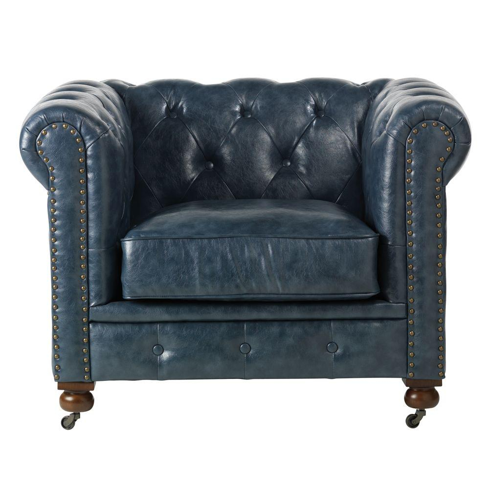 Home Decorators Collection Gordon Blue Leather Arm Chair 0849600310 Regarding Gordon Arm Sofa Chairs (Image 8 of 20)