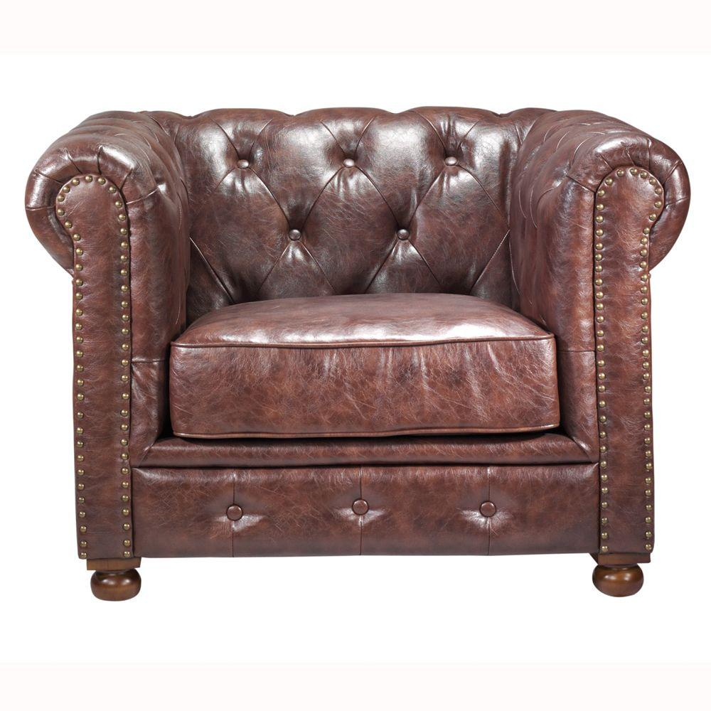 Home Decorators Collection Gordon Brown Leather Arm Chair 0849600760 For Gordon Arm Sofa Chairs (Image 11 of 20)
