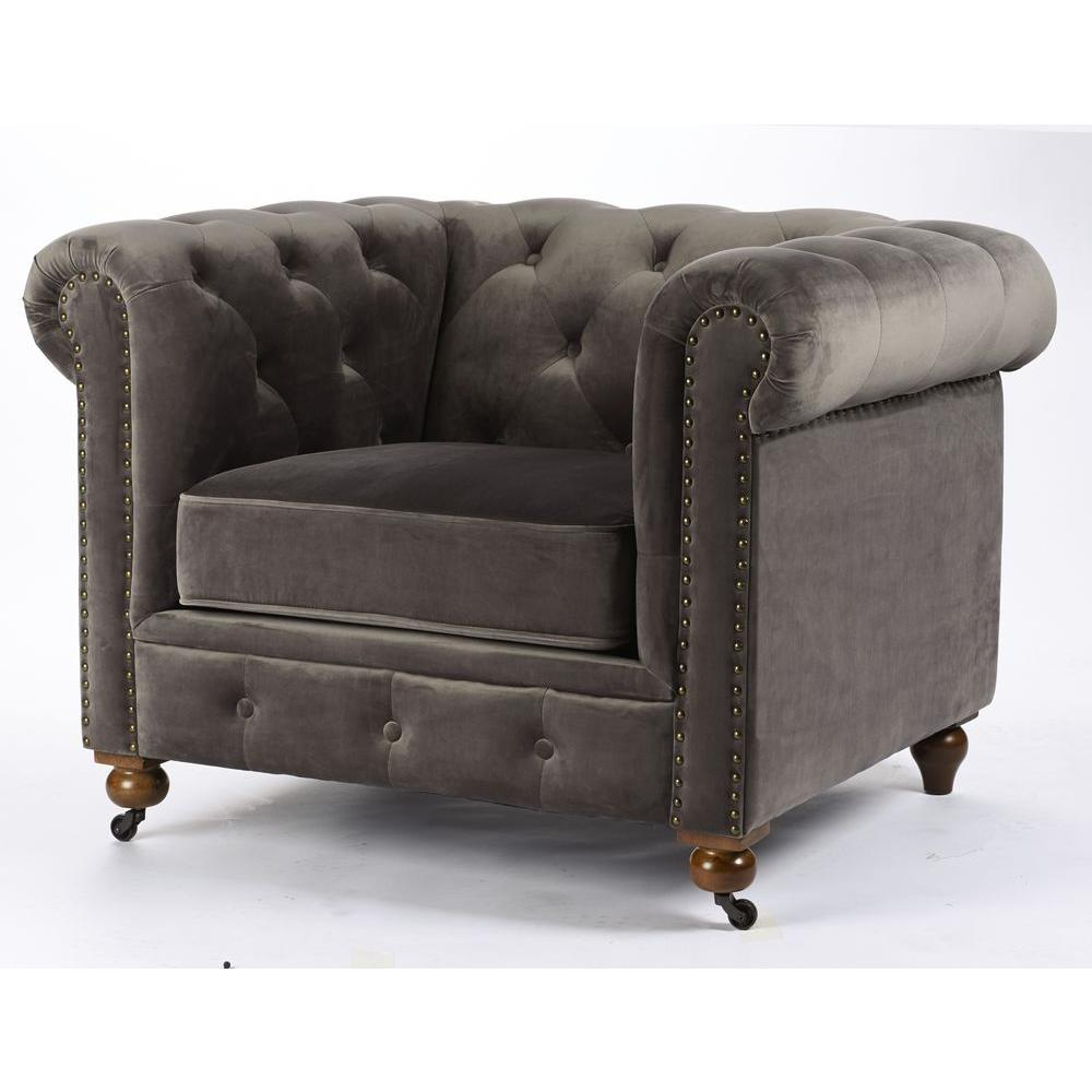 Home Decorators Collection Gordon Grey Velvet Arm Chair 0849600120 Within Gordon Arm Sofa Chairs (Photo 1 of 20)