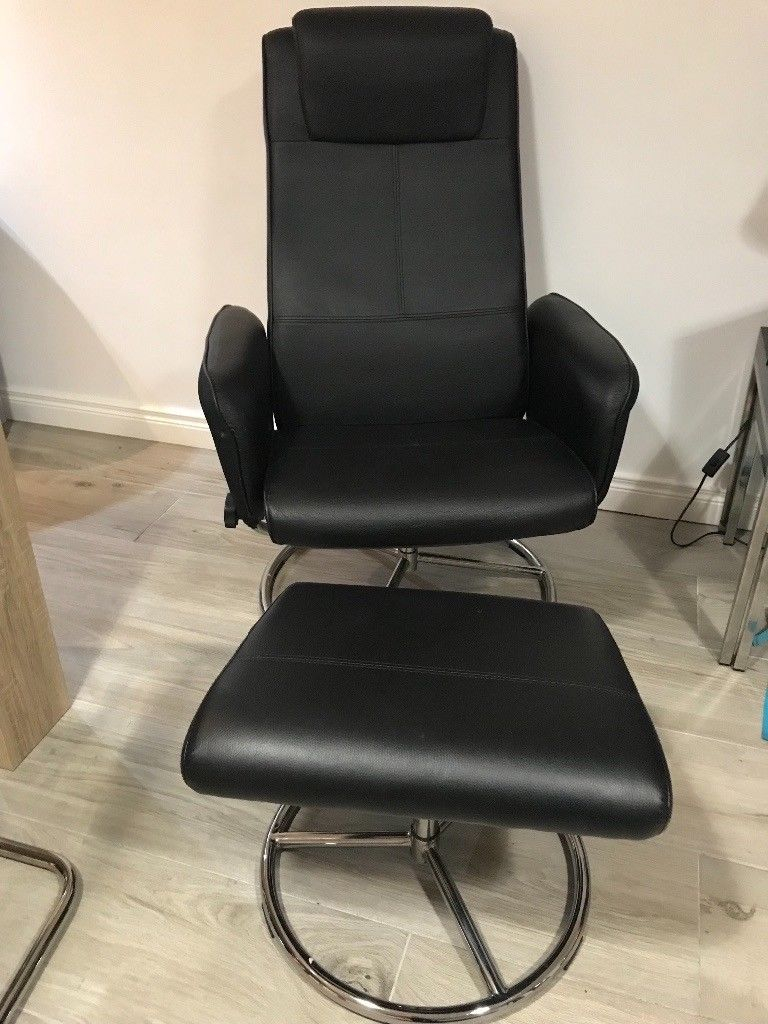Ikea Malung Black Leather Recliner Swivel Chair With Foot Stool | In Throughout Leather Black Swivel Chairs (Photo 7 of 20)