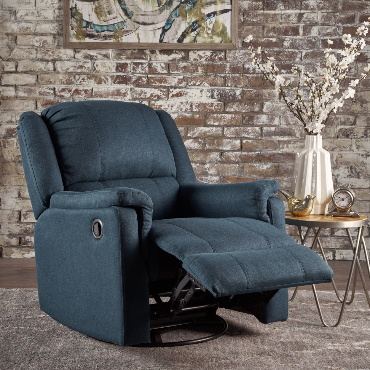 Jemma Tufted Fabric Swivel Gliding Recliner Chair In Living Room Regarding Decker Ii Fabric Swivel Rocker Recliners (Image 8 of 20)