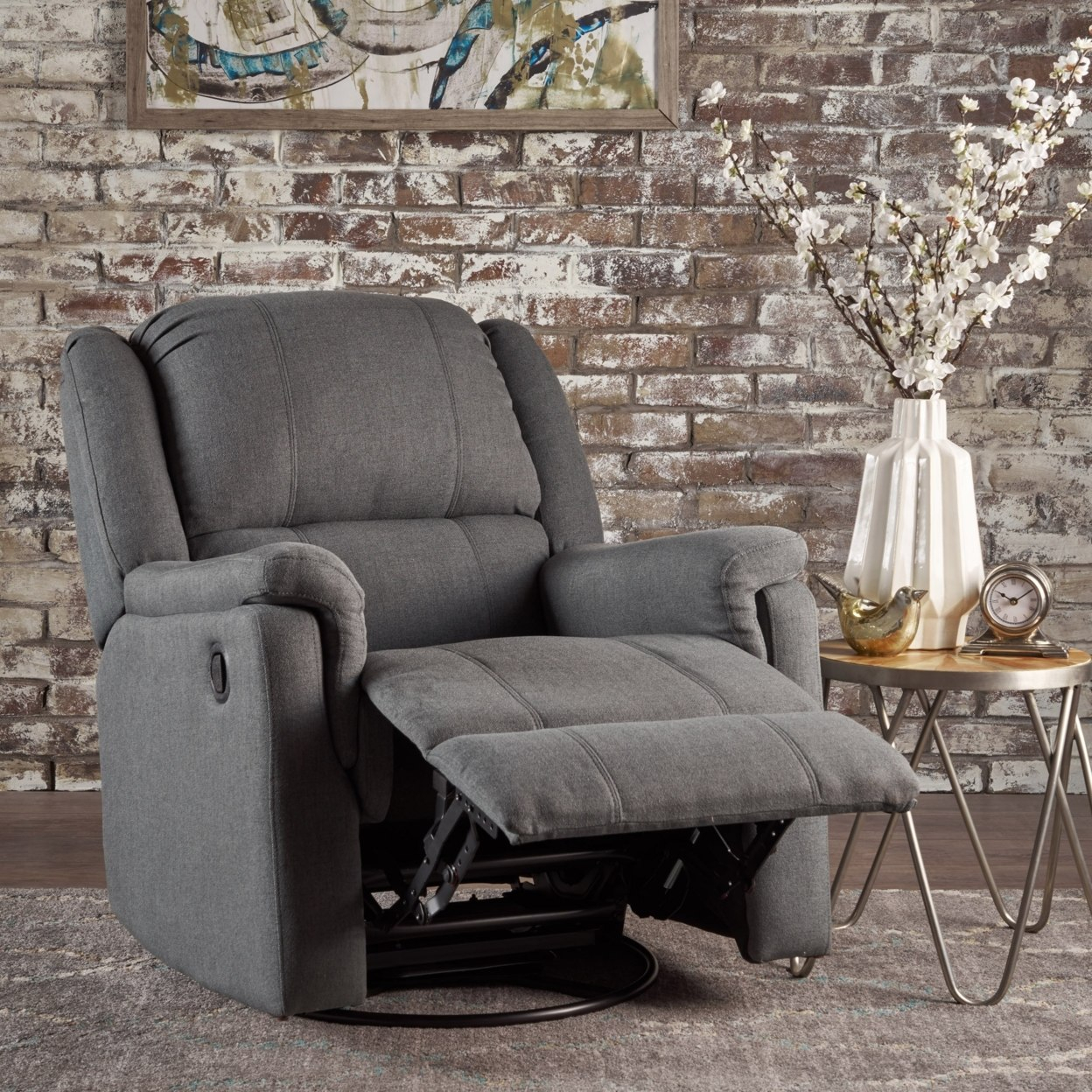 Jemma Tufted Fabric Swivel Gliding Recliner Chair In Living Room With Regard To Decker Ii Fabric Swivel Rocker Recliners (Image 9 of 20)