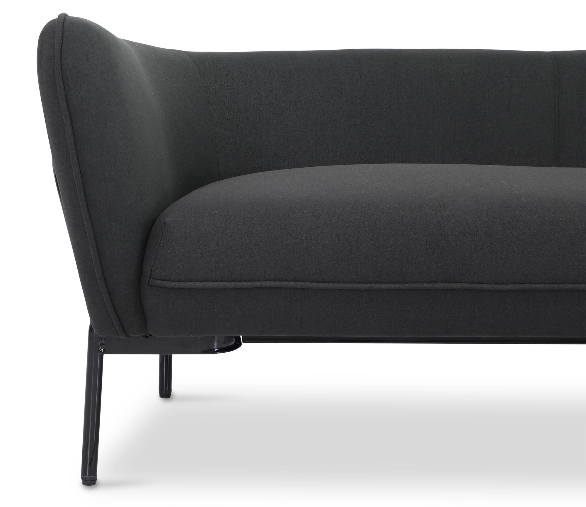 Karen Sofa In Black With Black Iron Stand | Furniture & Home Décor Pertaining To Karen Sofa Chairs (Image 11 of 20)