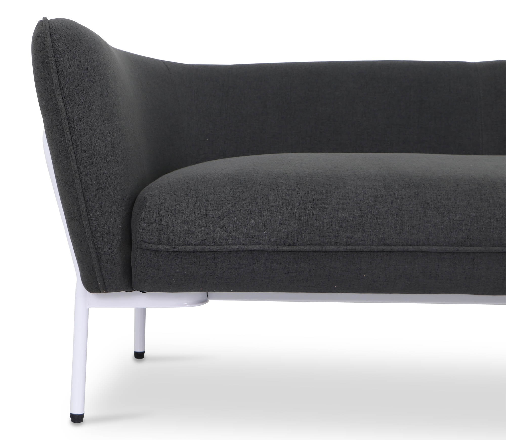Karen Sofa In Dark Grey With White Iron Stand | Furniture & Home For Karen Sofa Chairs (Image 12 of 20)