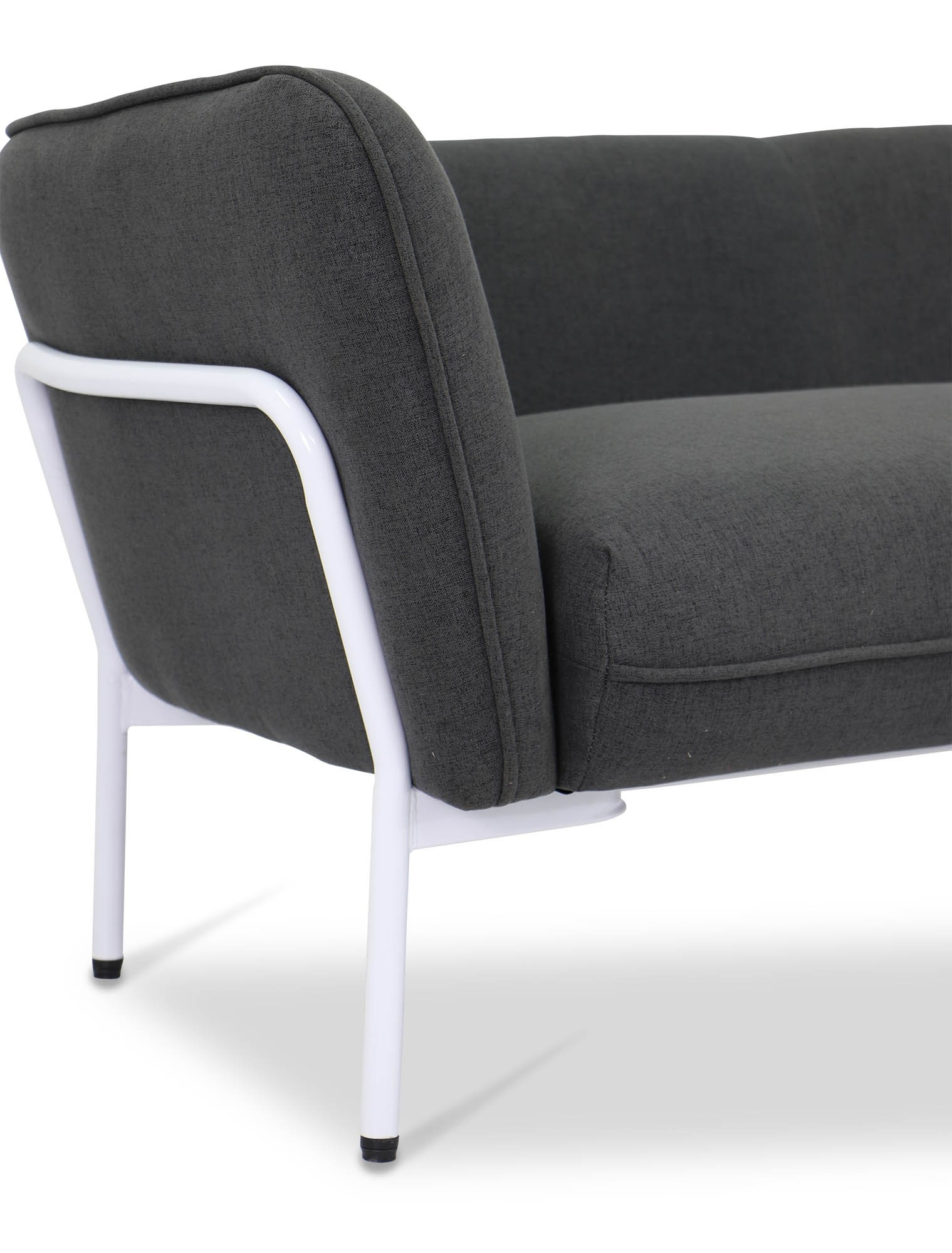 Karen Sofa In Dark Grey With White Iron Stand | Furniture & Home Regarding Karen Sofa Chairs (Image 13 of 20)