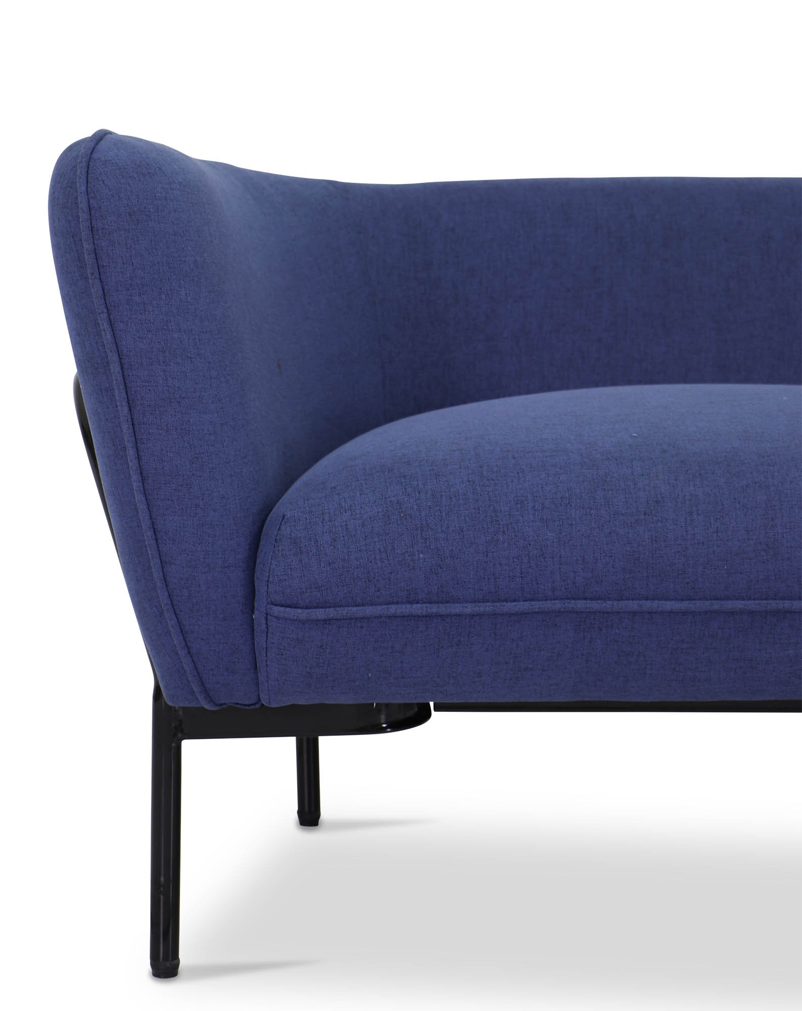 Karen Sofa In Ink Blue With Black Iron Stand | Furniture & Home In Karen Sofa Chairs (Image 14 of 20)