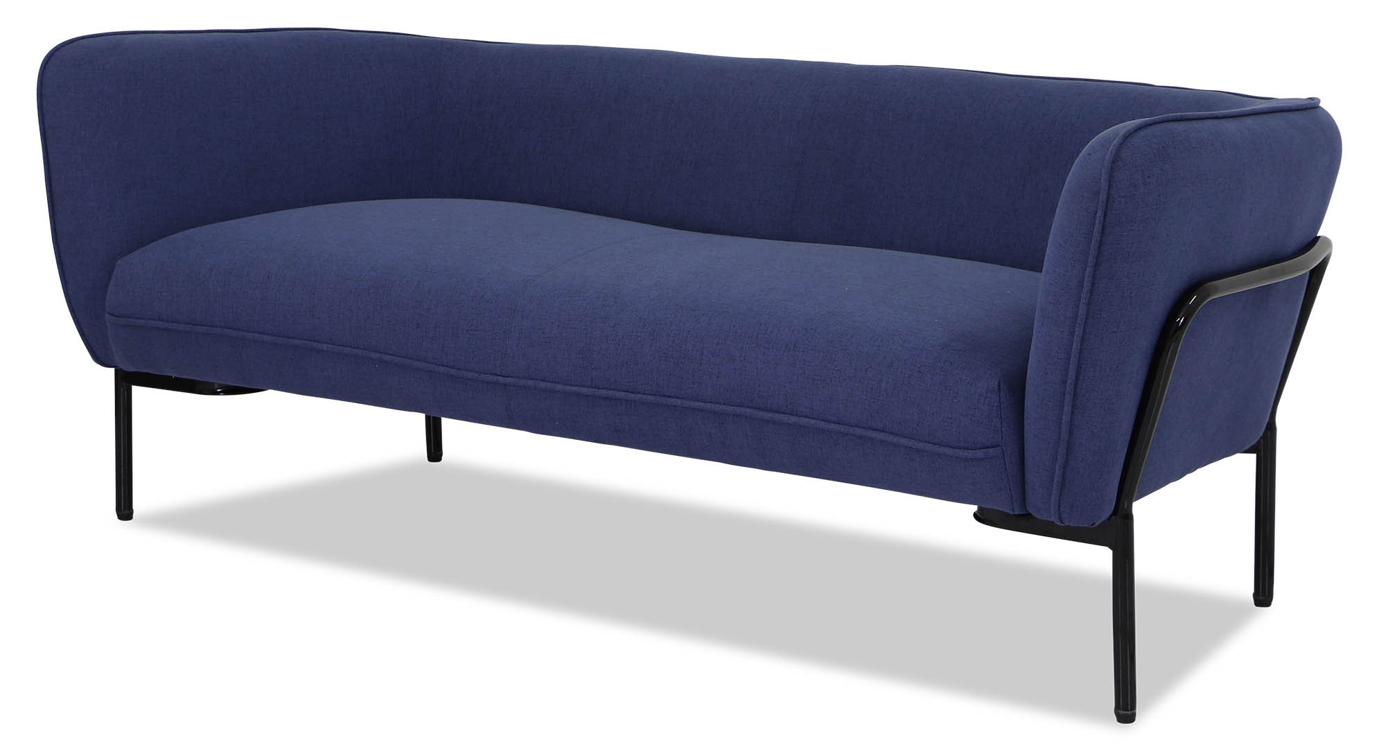 Karen Sofa In Ink Blue With Black Iron Stand | Furniture & Home Within Karen Sofa Chairs (Image 15 of 20)