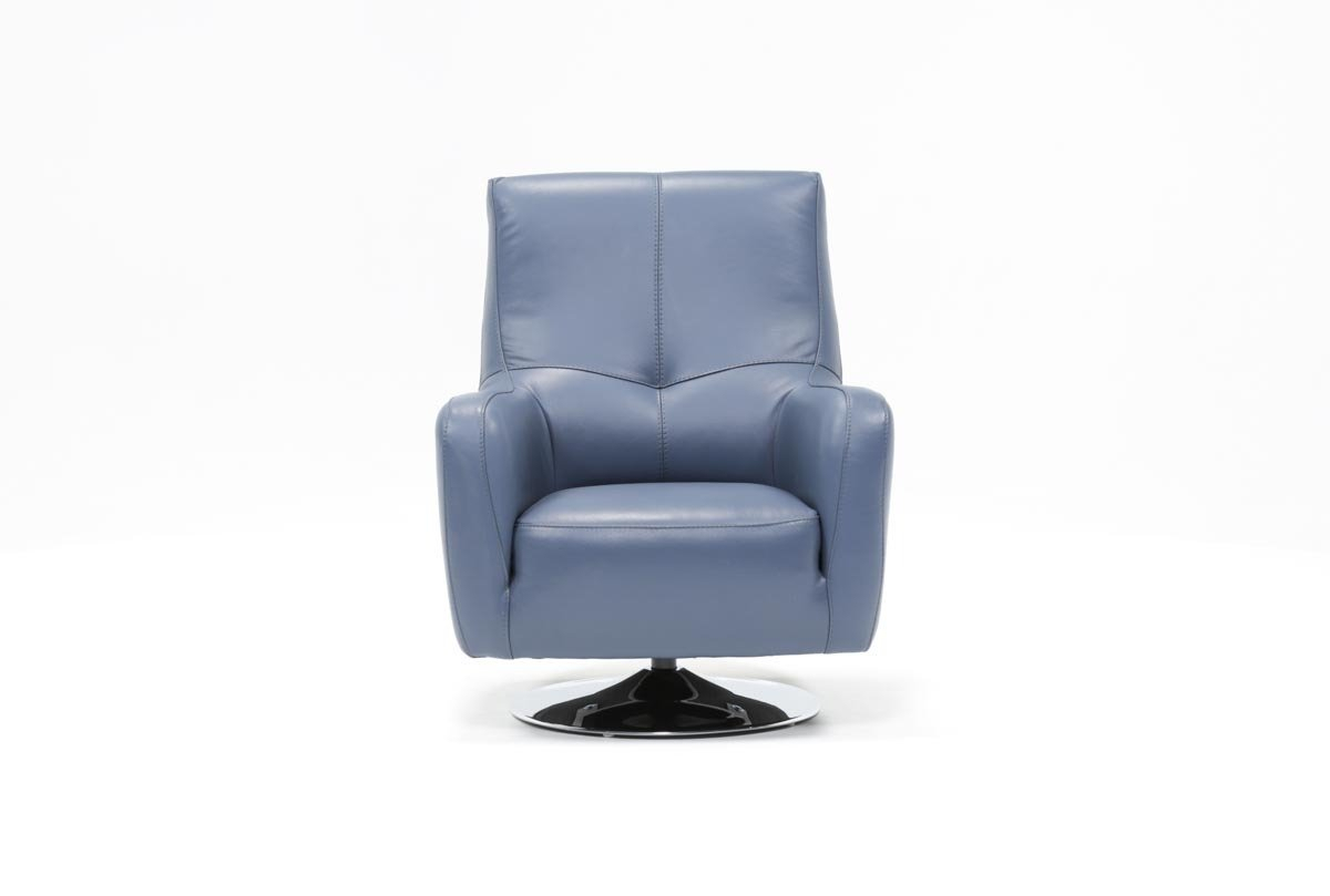 Kawai Leather Swivel Chair | Living Spaces Intended For Katrina Blue Swivel Glider Chairs (Image 10 of 20)