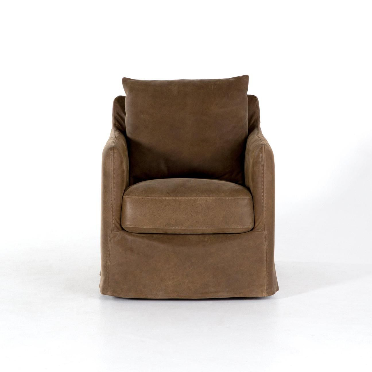 Kensington Collection Banks Top Grain Leather Swivel Chair: Umber Inside Umber Grey Swivel Accent Chairs (View 2 of 20)