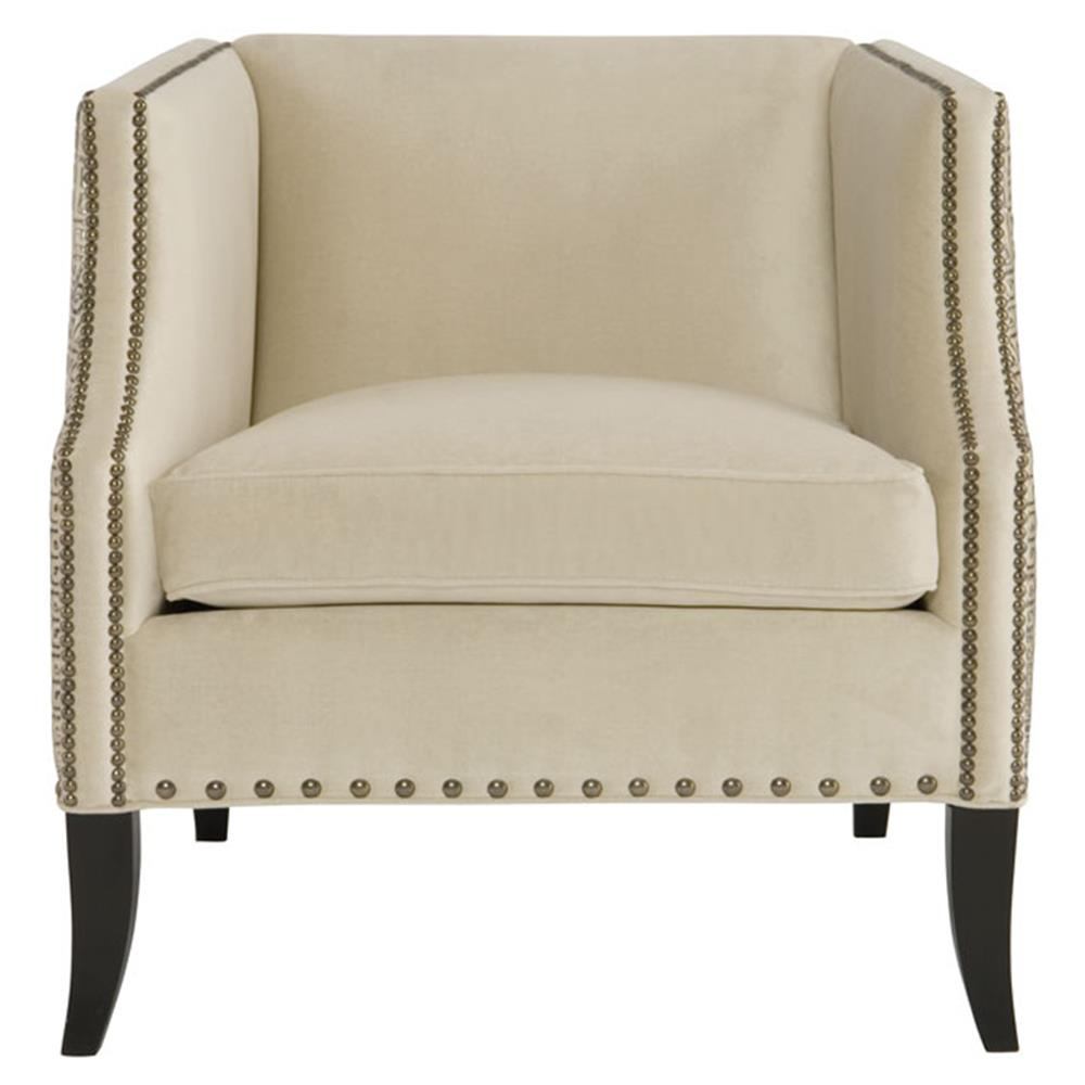 Kiara Hollywood Regency Mocha Wood Antique Nickel Beige Armchair Pertaining To Kiara Sofa Chairs (Image 9 of 20)