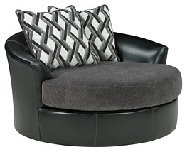 Kumasi – Smoke – Oversized Swivel Accent Chair | 3220221 | Chairs Intended For Loft Black Swivel Accent Chairs (View 20 of 20)
