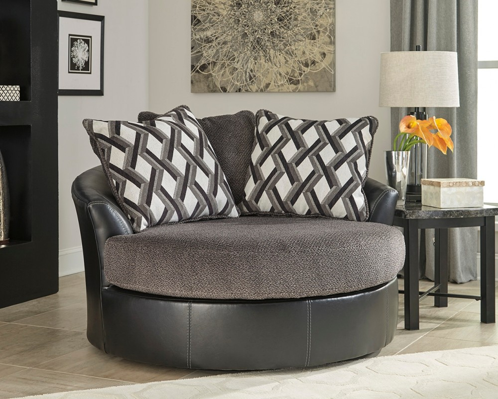 Kumasi – Smoke – Oversized Swivel Accent Chair | 3220221 | Chairs Pertaining To Harbor Grey Swivel Accent Chairs (Image 14 of 20)