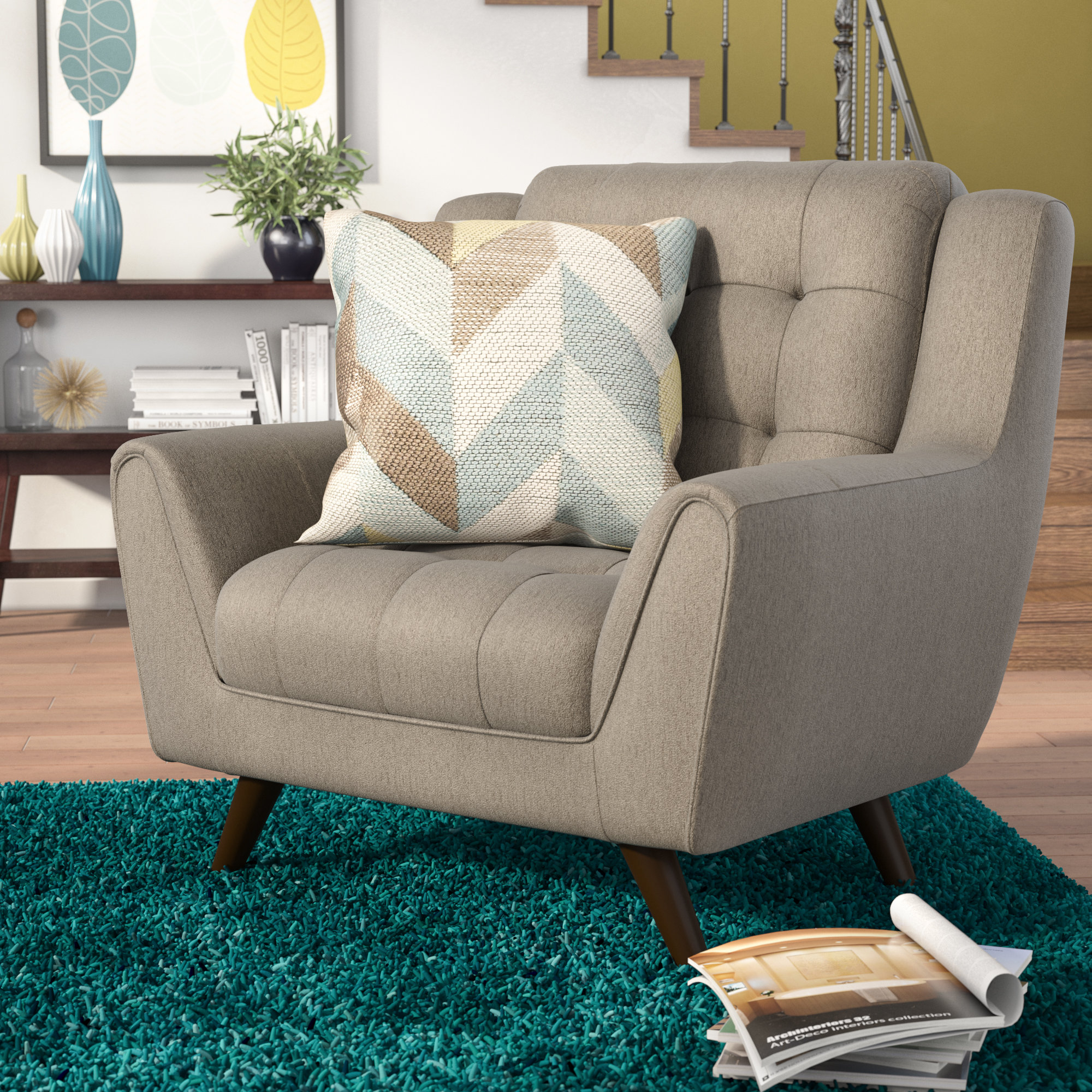Langley Street Alvinholmes Chair And A Half & Reviews | Wayfair With Regard To Escondido Sofa Chairs (Image 12 of 20)