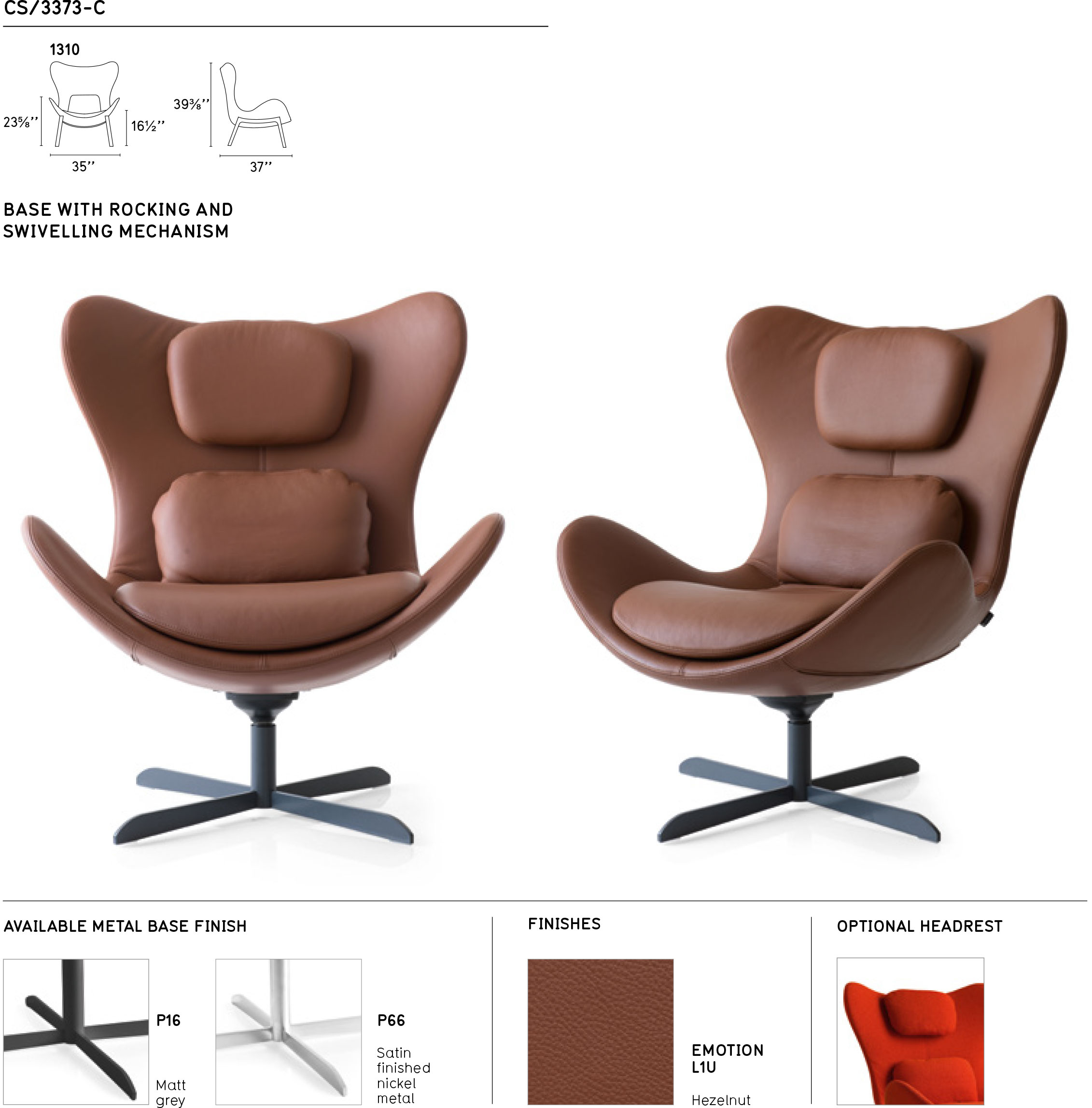 Lazy Cs/3373 C 1310 Swinging Swivel Chaircalligaris, Italy Pertaining To Chill Swivel Chairs With Metal Base (Image 15 of 20)