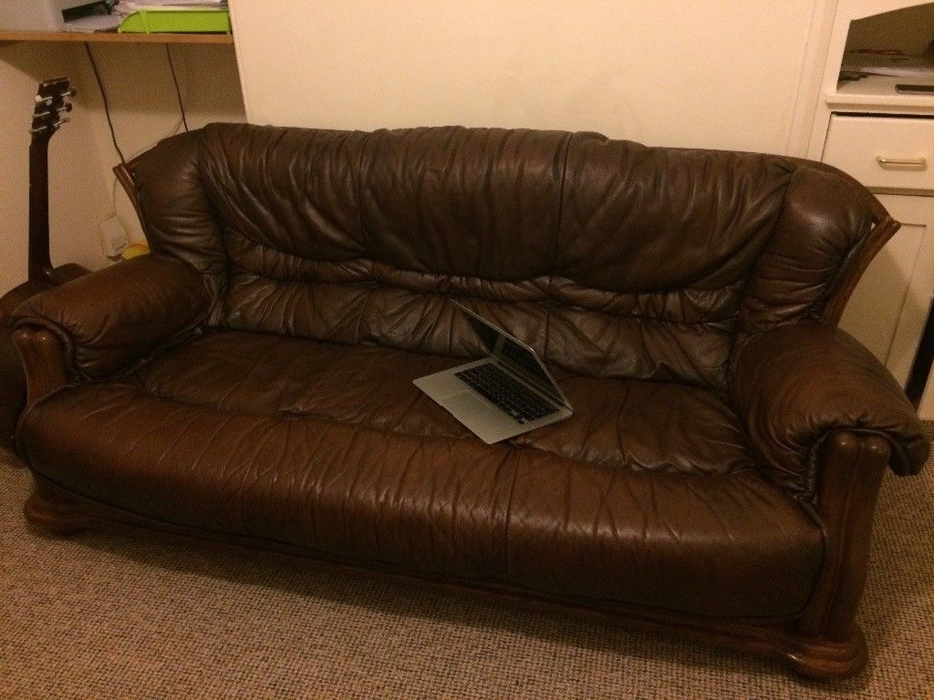 Leather Sofa: 3 Seater, 2 Arm Chairs And Foot Stool. | In Exeter Throughout Devon Ii Arm Sofa Chairs (Photo 9 of 20)