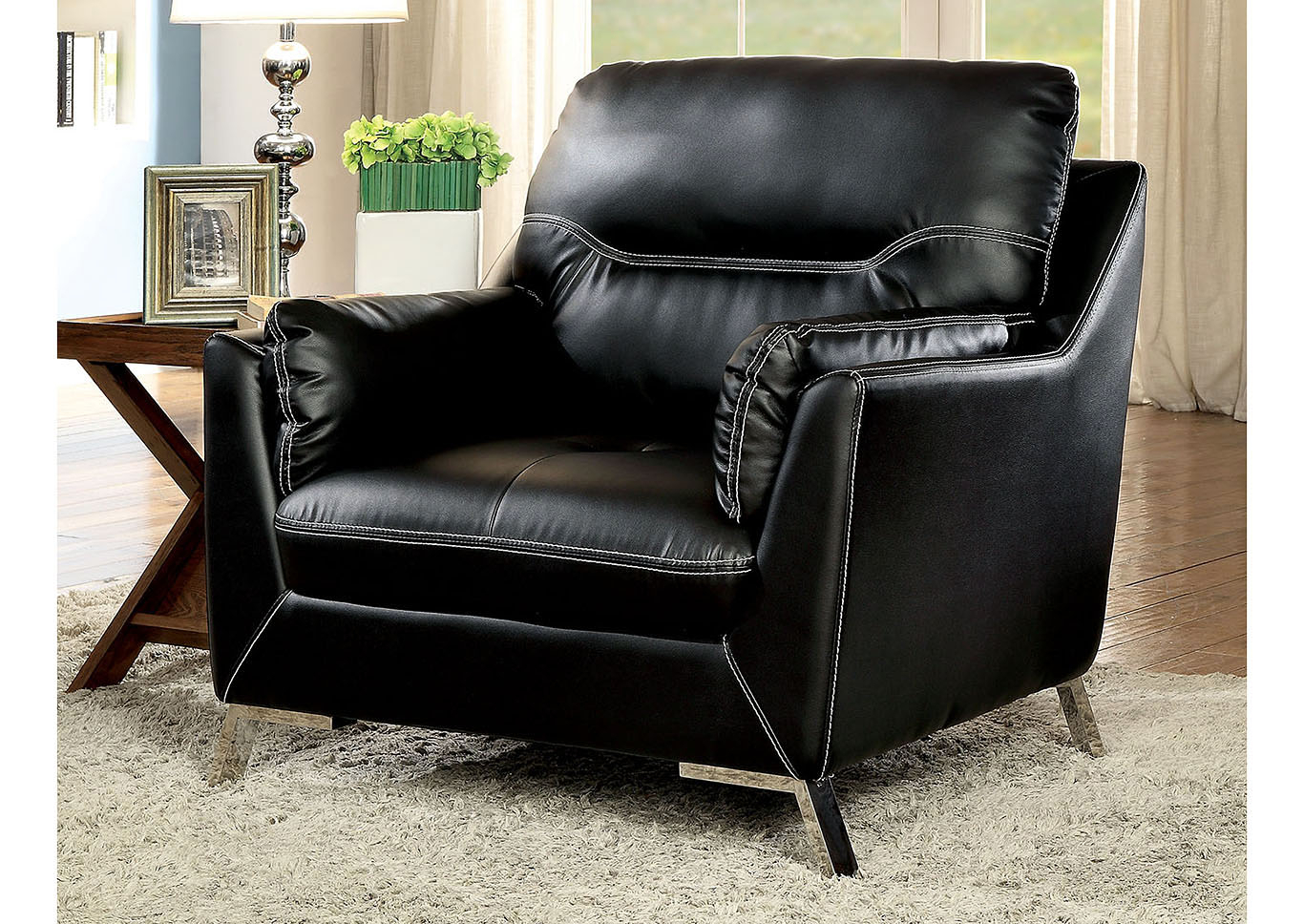 Lion Furniture Center Nichola Black Chair Intended For Nichol Swivel Accent Chairs (Image 9 of 20)