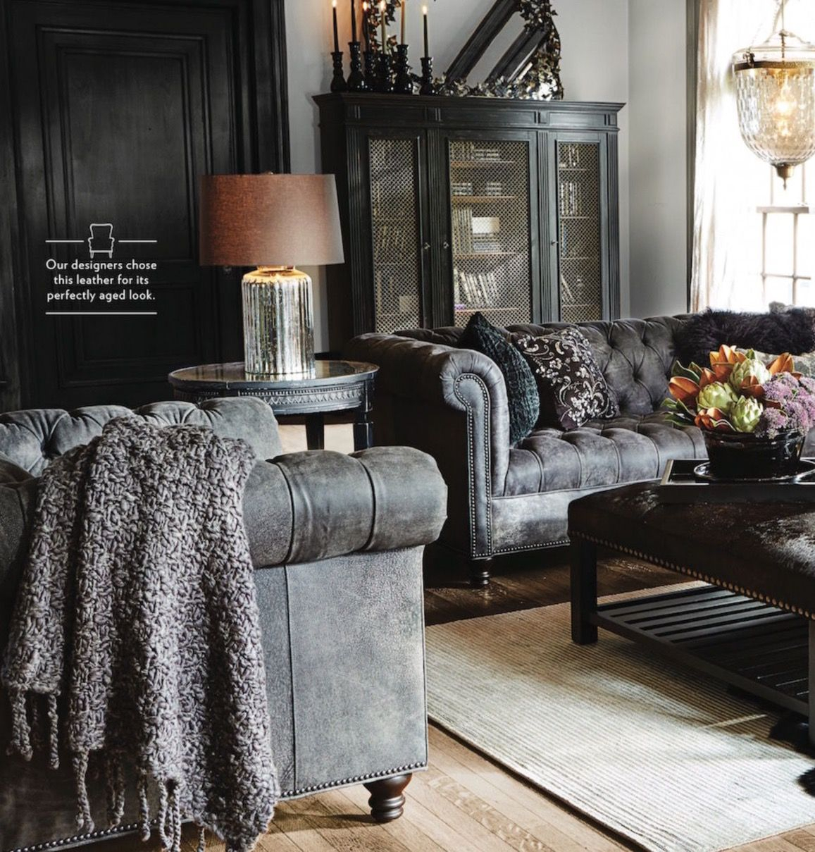 Living A Beautiful Life ~ | Restoration Hardware | Pinterest Within Gina Blue Leather Sofa Chairs (Image 15 of 20)