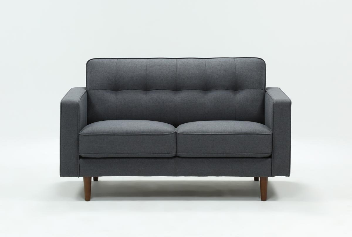 London Dark Grey Loveseat | Living Spaces Pertaining To London Dark Grey Sofa Chairs (Image 10 of 20)