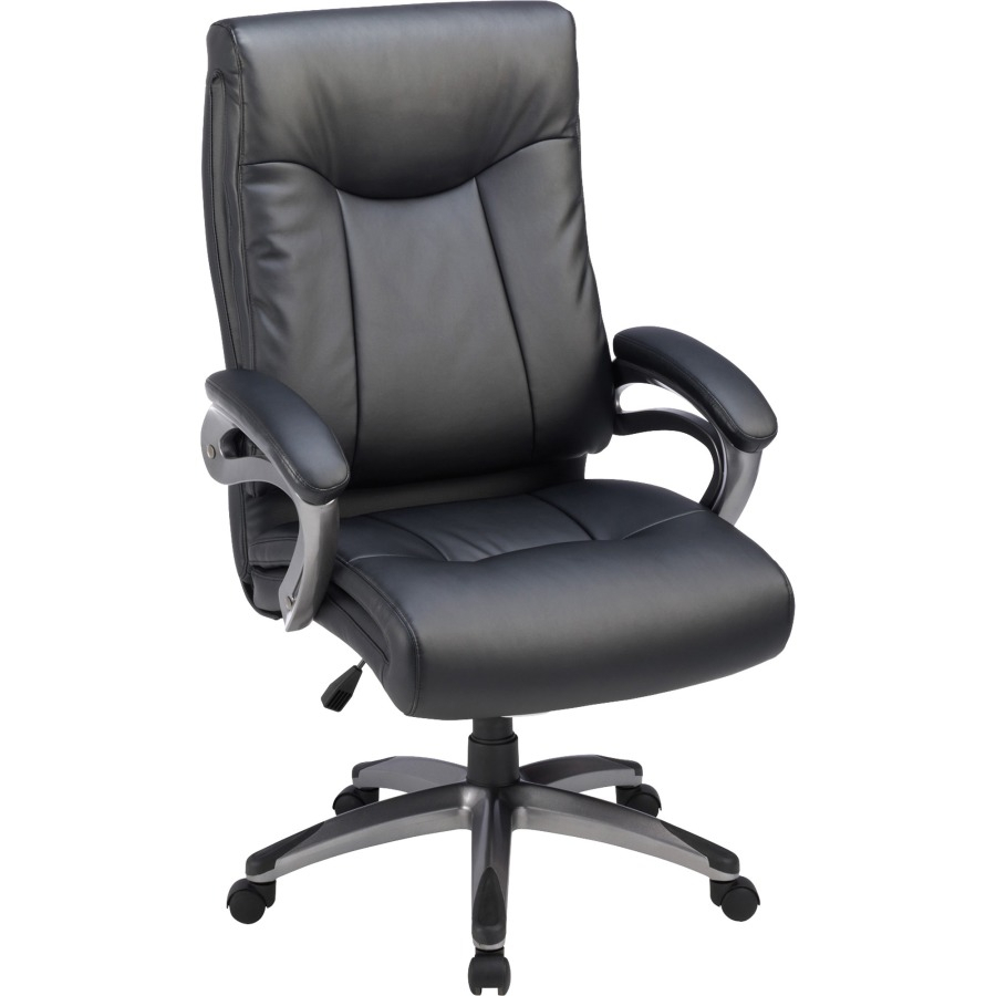 Lorell High Back Executive Chair, Padded Arms, Gun Metal Frame Inside Chadwick Gunmetal Swivel Chairs (Image 15 of 20)