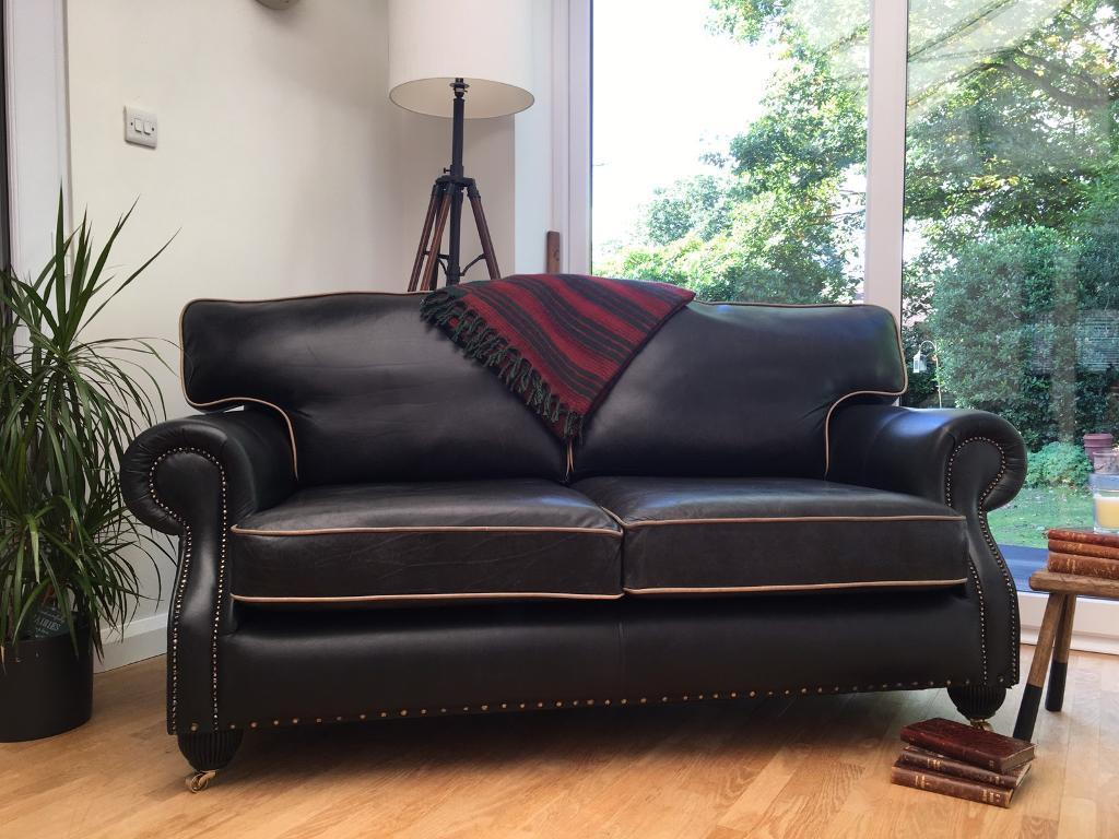 Lovely Chesterfield Club Style Sofa/settee Graphite Grey Leather Intended For Mansfield Graphite Velvet Sofa Chairs (Image 6 of 20)