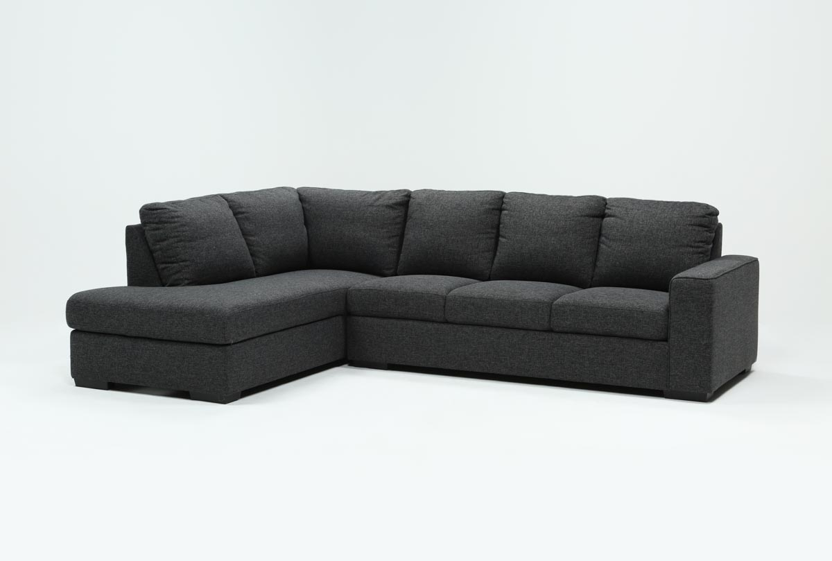 Lucy Dark Grey 2 Piece Sleeper Sectional W/laf Chaise | Living Spaces Pertaining To Lucy Dark Grey Sofa Chairs (View 14 of 20)