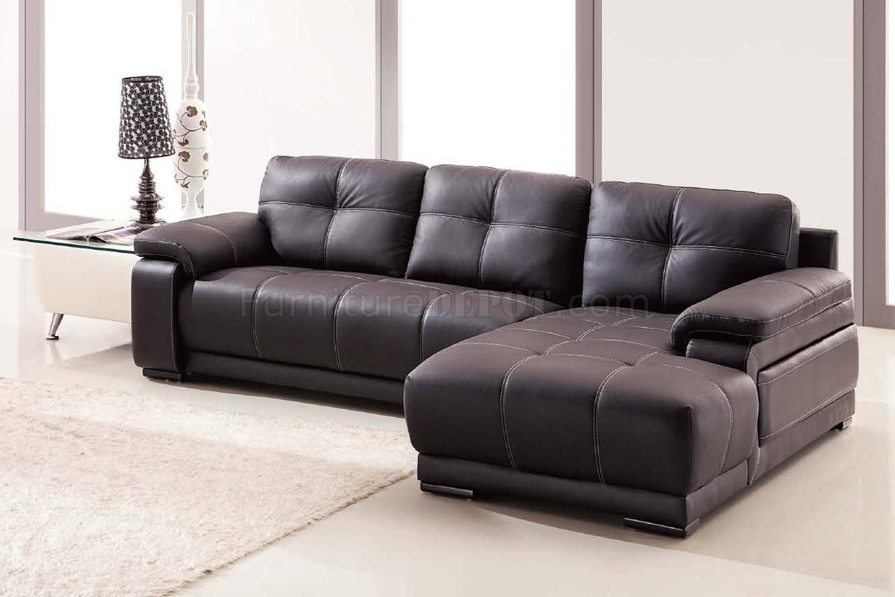 Lucy Sectional Sofa In Dark Brown Bonded Leather Throughout Lucy Dark Grey Sofa Chairs (View 8 of 20)