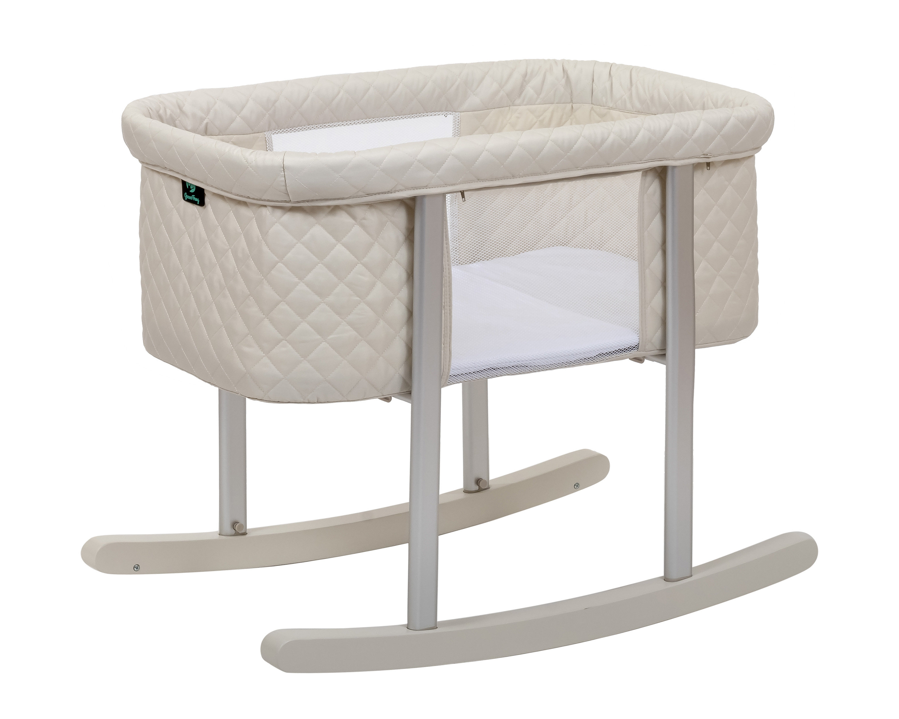 Mack & Milo Gaetan Diamond Baby Bassinet | Wayfair In Bailey Mist Track Arm Skirted Swivel Gliders (Photo 14 of 20)