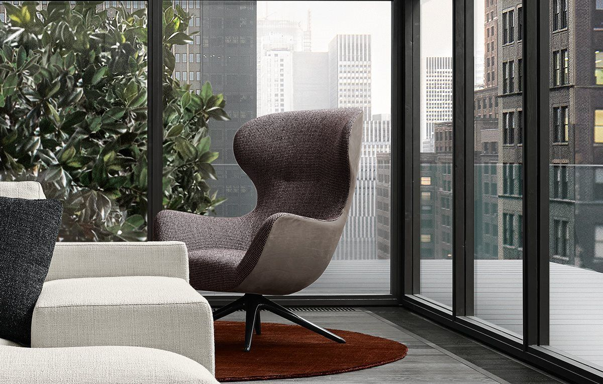 Mad Joker Armchair With Outer Body In Leather Nabuk 2 Tortora And Inside Nichol Swivel Accent Chairs (Image 11 of 20)