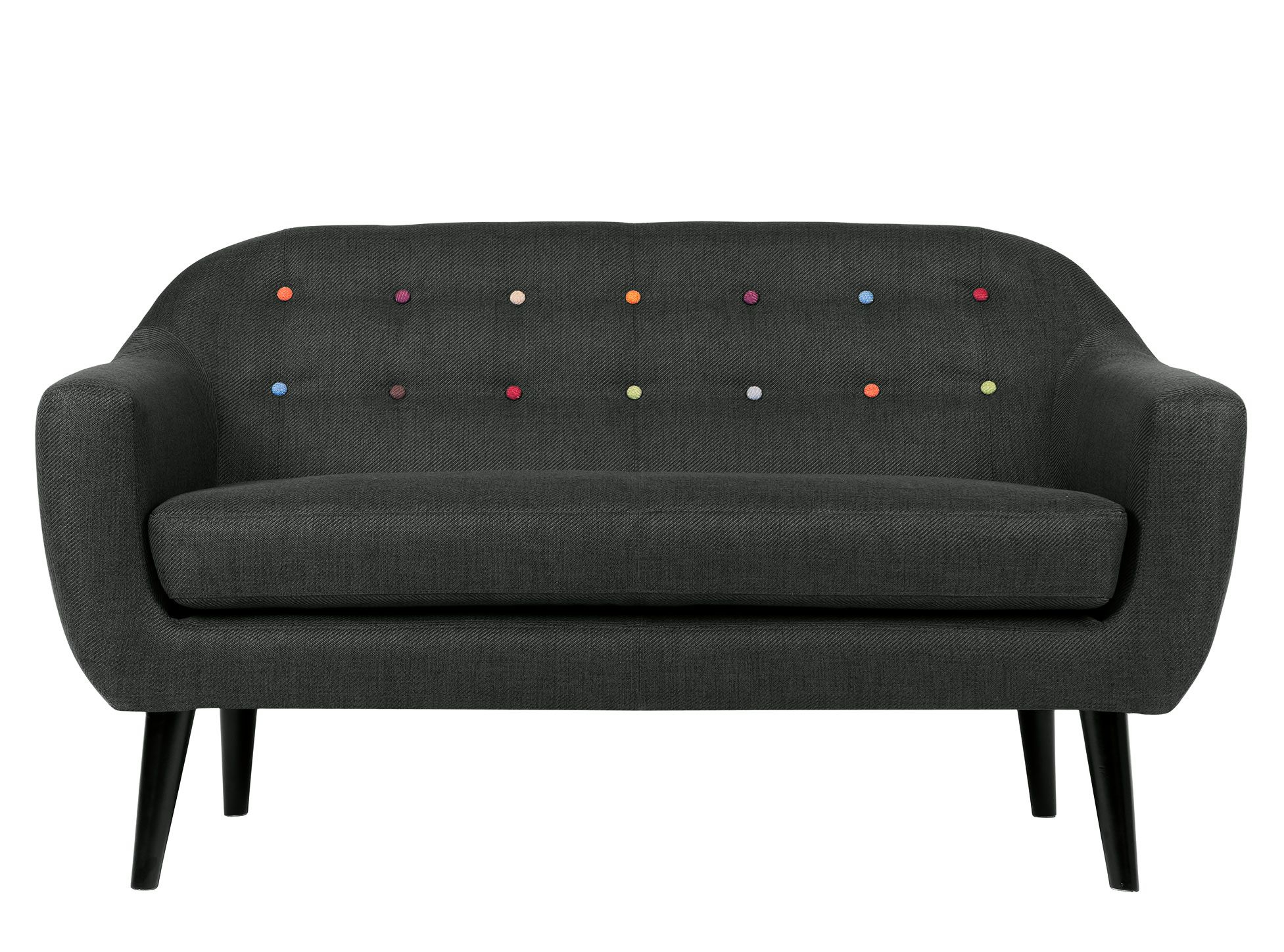 Made 2 Seater Sofa, Anthracite Grey With Rainbow Buttons (Image 5 of 20)