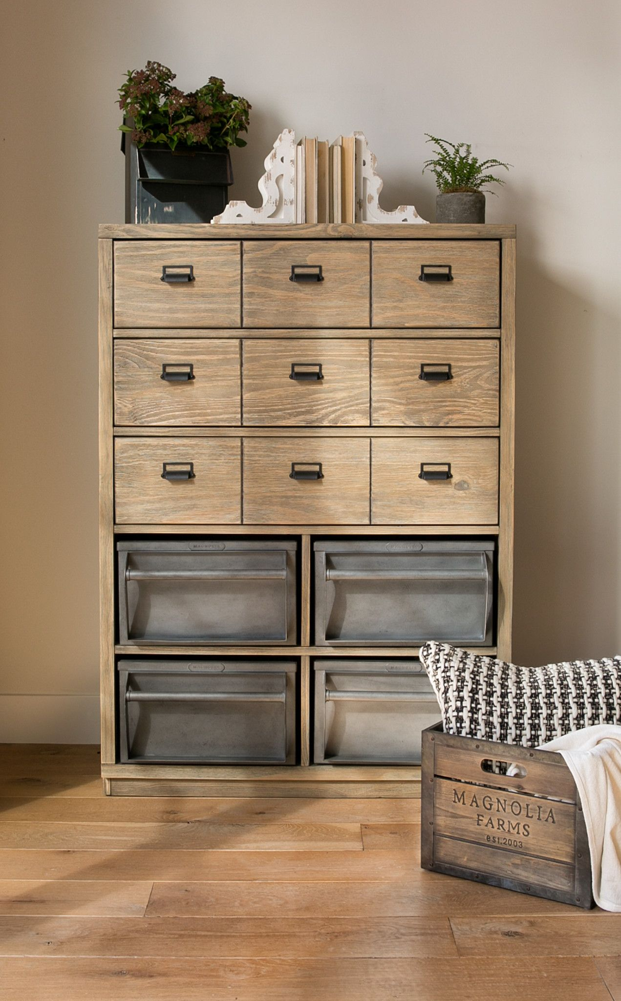 Magnolia Home Workshop Chest With Metal Binsjoanna Gaines Within Magnolia Home Paradigm Sofa Chairs By Joanna Gaines (View 17 of 20)