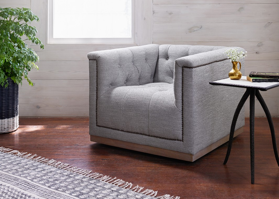 Manor Grey/whitewash Fabric Swivel Chair With Aged Bronze Nailhead With Regard To Manor Grey Swivel Chairs (Photo 2 of 20)