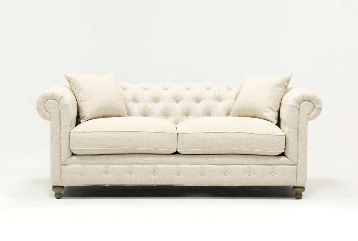 Mansfield 86 Inch Beige Linen Sofa | Living Spaces Throughout Mansfield Graphite Velvet Sofa Chairs (Photo 13 of 20)