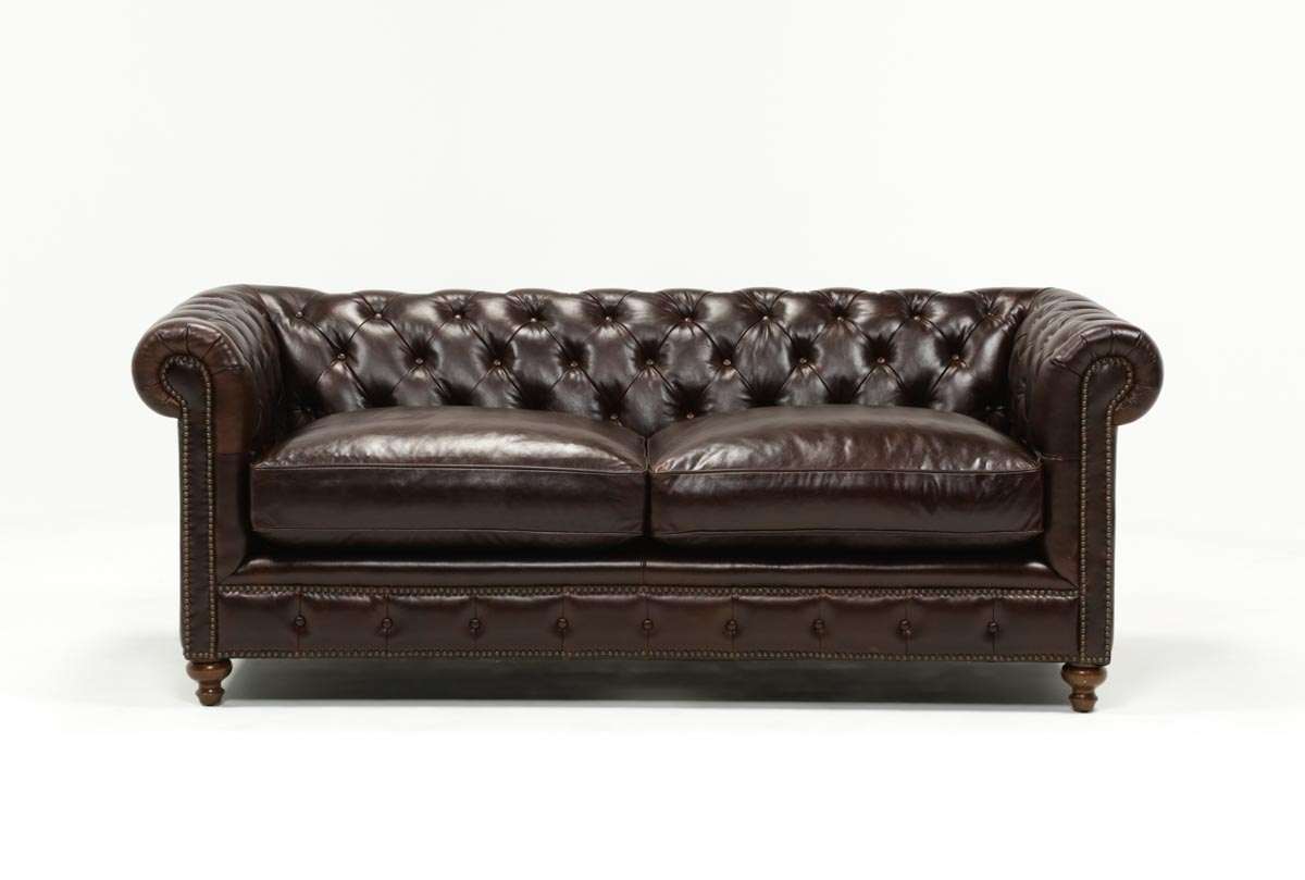 Mansfield 86 Inch Cocoa Leather Sofa | Living Spaces For Mansfield Cocoa Leather Sofa Chairs (Photo 1 of 20)