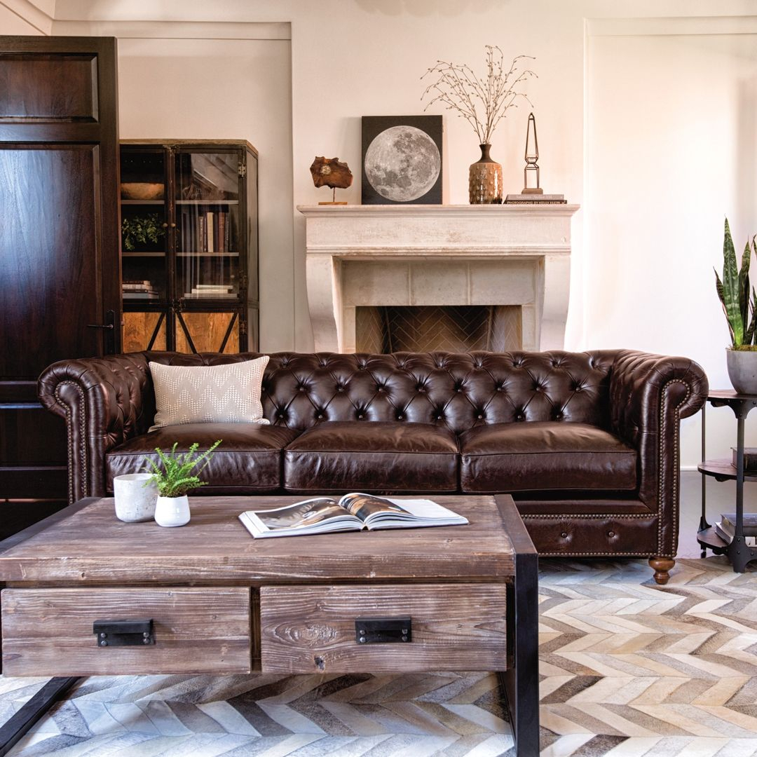 Mansfield 96 Inch Cocoa Leather Sofa In 2018 | Living Rooms Within Mansfield Cocoa Leather Sofa Chairs (Image 13 of 20)