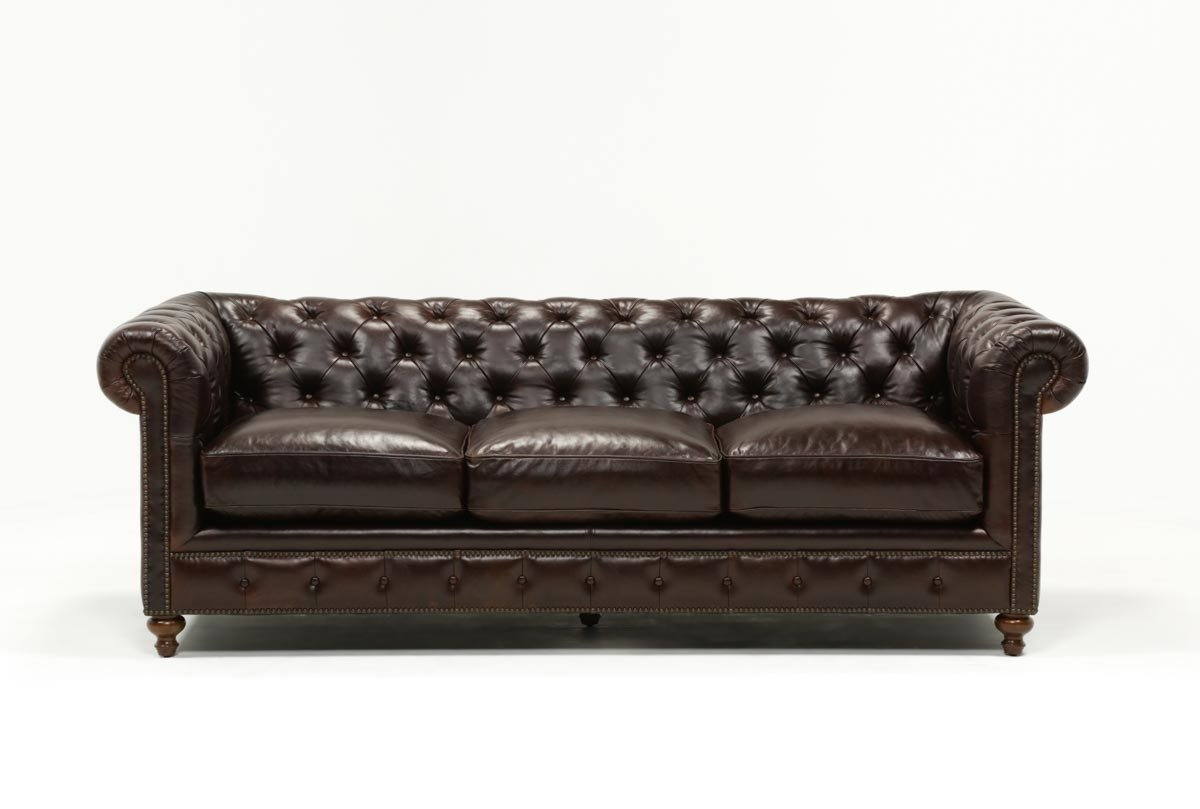 Mansfield 96 Inch Cocoa Leather Sofa | Living Spaces Throughout Mansfield Cocoa Leather Sofa Chairs (Image 12 of 20)