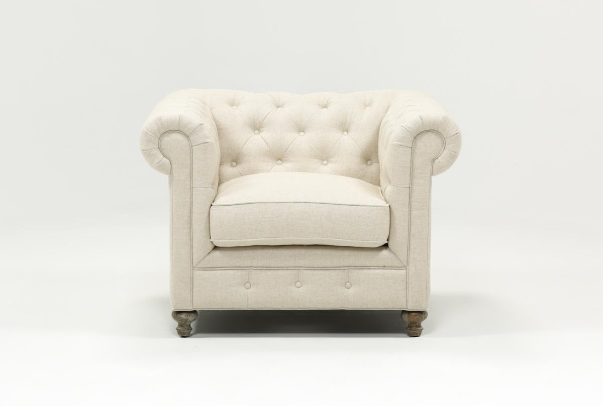 Mansfield Beige Linen Chair | Living Spaces In Magnolia Home Ravel Linen Sofa Chairs (Photo 17 of 20)