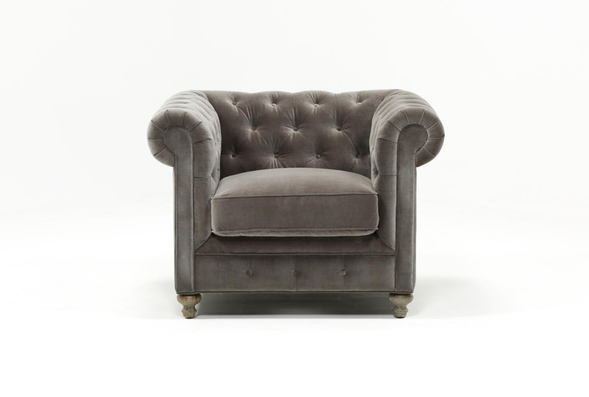 Mansfield Graphite Velvet Chair | Living Spaces Pertaining To Mansfield Graphite Velvet Sofa Chairs (Image 11 of 20)