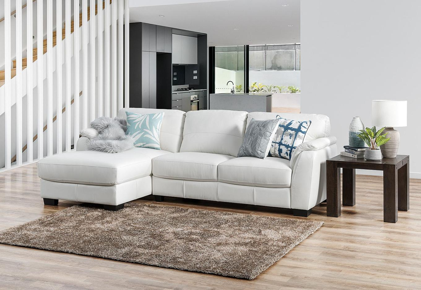 Marissa Leather 3 Seater Chaise White – Sofas, Lounges & Couches For Marissa Sofa Chairs (Image 9 of 20)