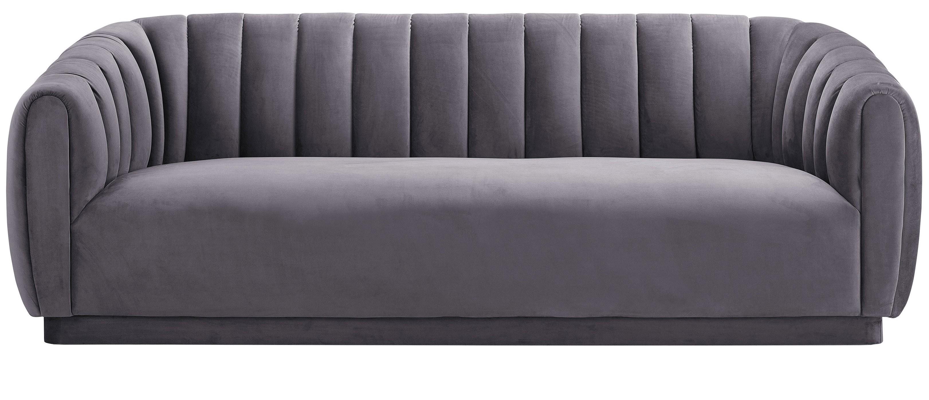 Marissa Velvet Sofa, Gray For Marissa Sofa Chairs (Image 18 of 20)